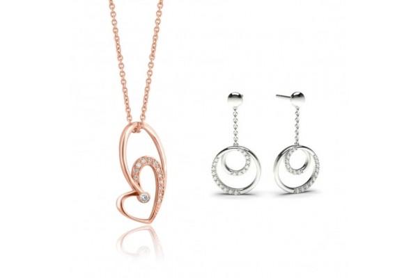 Parure - Collana + orecchini in oro bianco e diamanti