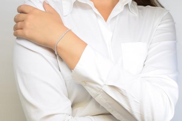Bracelet d'ambre en or blanc et diamant