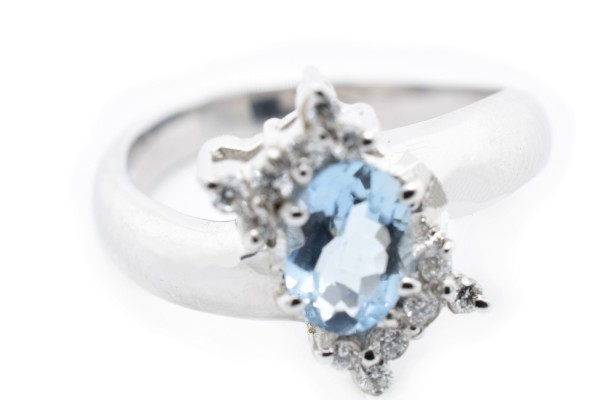 Edna ring in diamond white gold and aquamarine