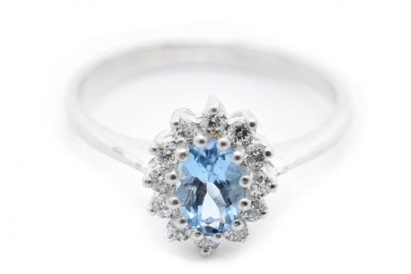 Anello Vittoria in oro bianco diamante e acquamarina