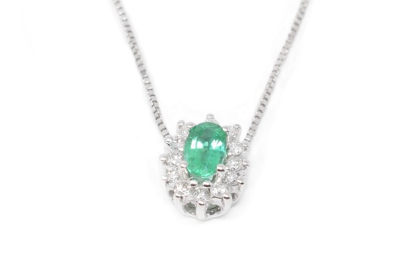 White and emerald gold Tatiana Pendant