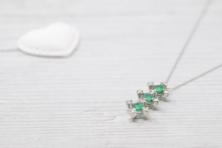 White and emerald gold Doris pendant