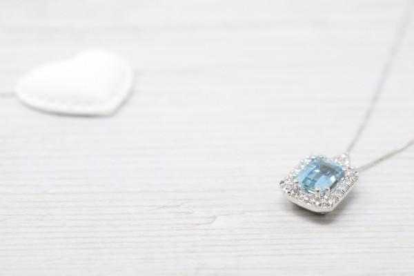 Grace pendant white gold and aquamarine