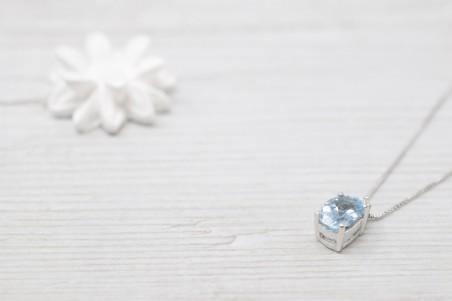 Pendant Dafne white gold and aquamarine