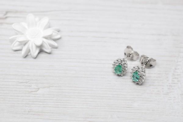 Eleonora earrings white gold and emerald