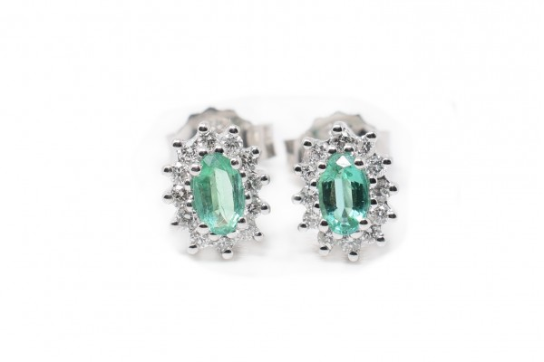 Eleonora earrings white gold and emerald