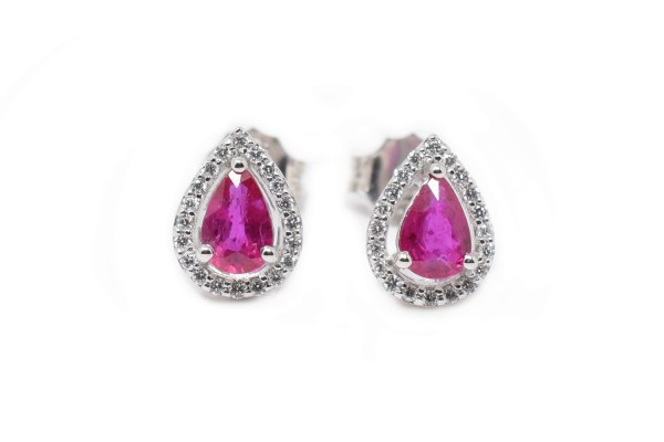 Nina earrings white gold and ruby