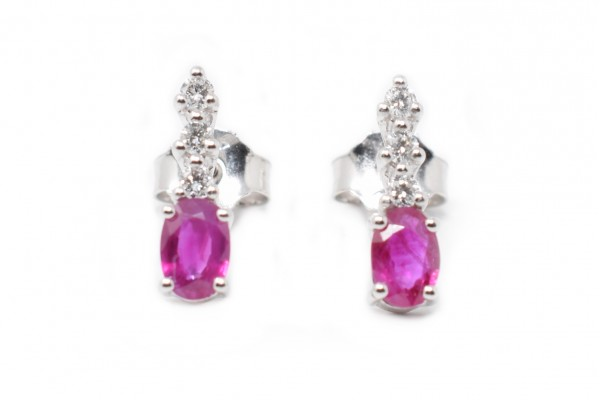 Grazia white gold and ruby earrings