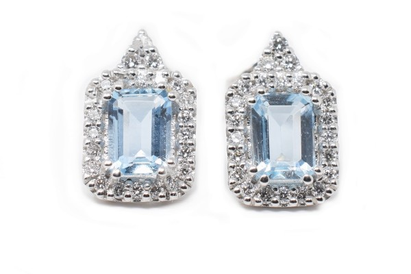 Marta earrings white gold and aquamarine