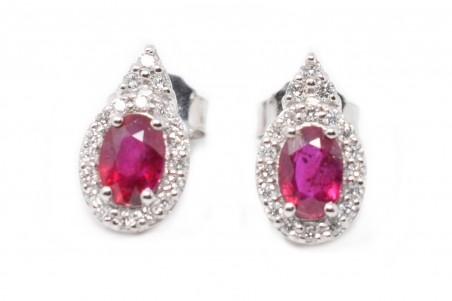 Luna white gold and ruby earrings