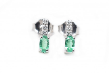 White and emerald gold Lea earrings