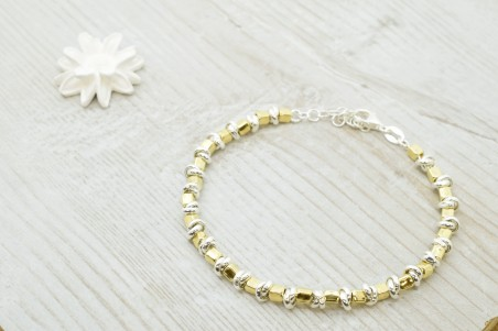 Paola bracelet in gold, rose and rhodium-plated silver